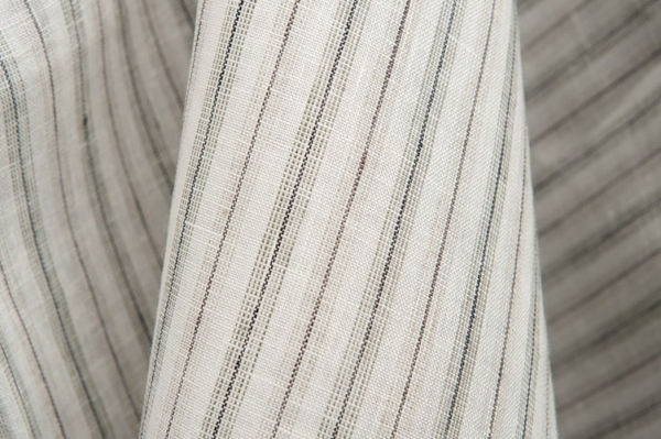 Off-white linen fabric in grey and brown stripes 1