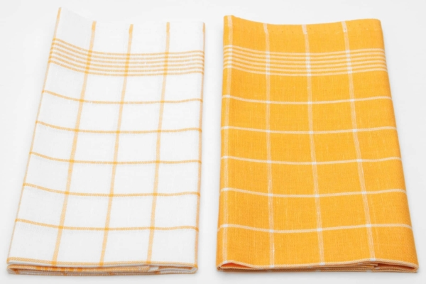 "Set of two yellow and white linen kitchen towels ""Alexandria"" 2"