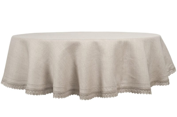 NORA round (oval) grey tablecloth 1