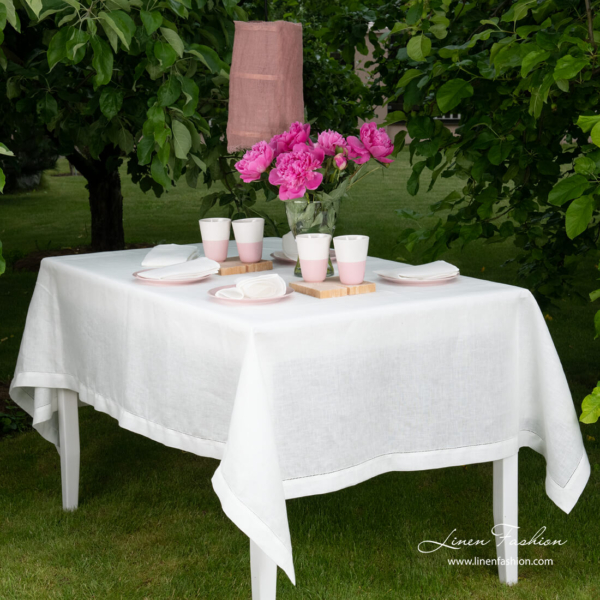 White linen tablecloth with hemstitch