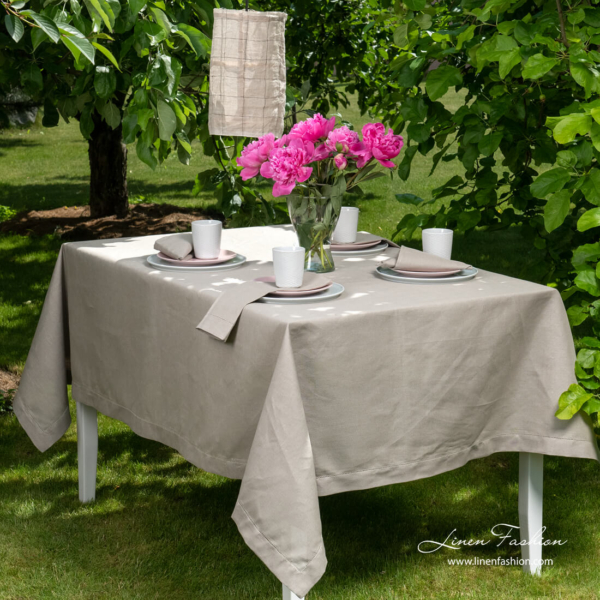 Grey hemstitched linen tablecloth