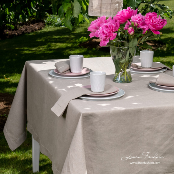 Linen blend grey tablecloth with folded borders and hemstitch