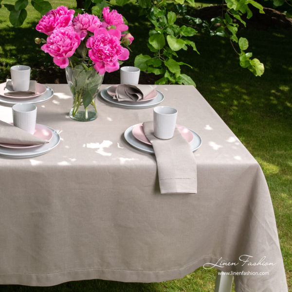 Linen blend grey hemstitched tablecloth