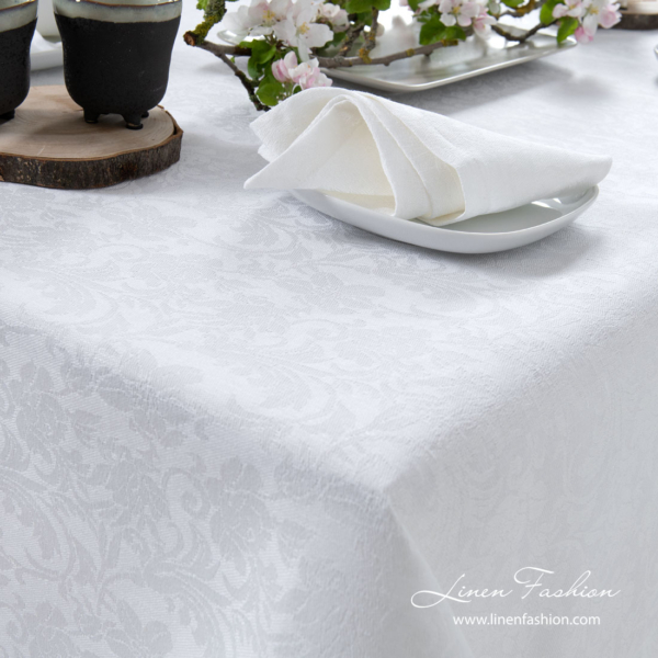 White linen tablecloth cotton with flower ornaments | Table Linen