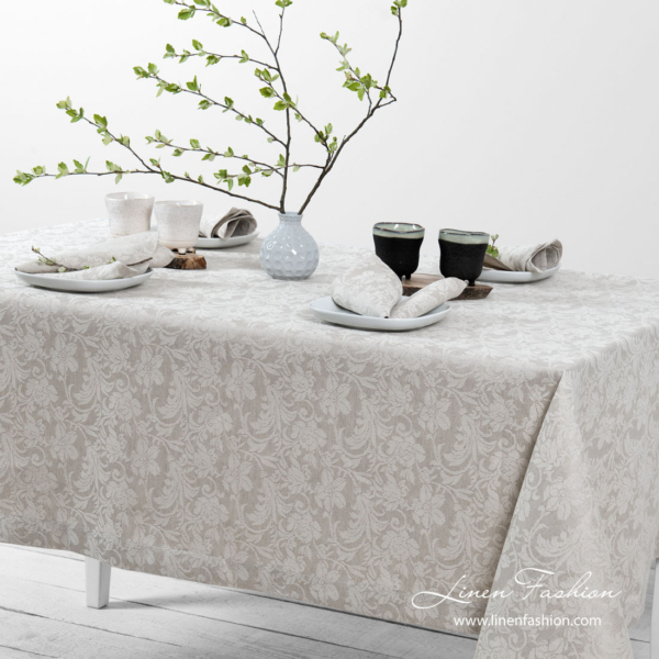 Grey linen tablecloth with flower ornaments | Linen Fashion