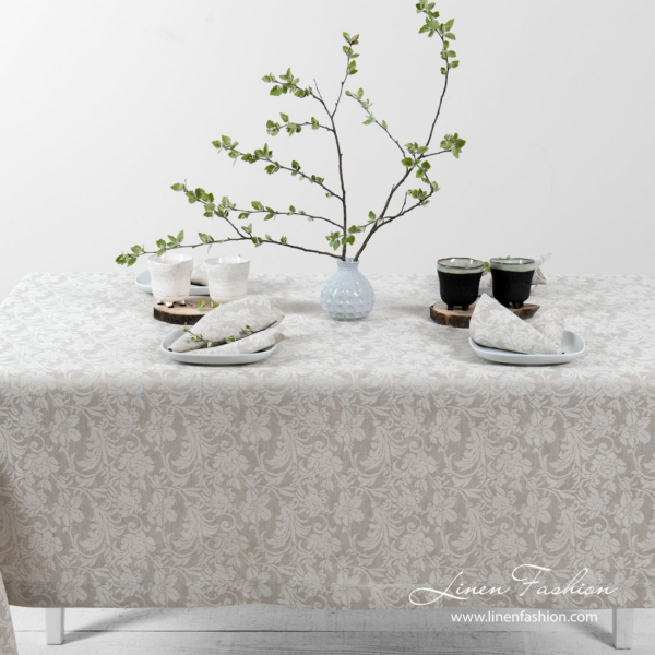 Jacquard linen tablecloth in light grey and white color