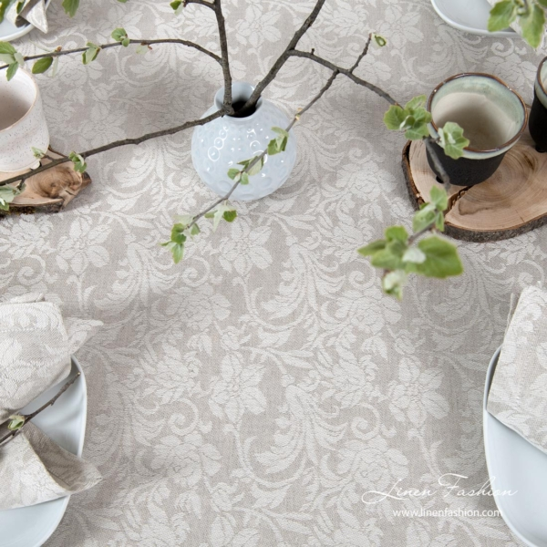 Tablecloth made from light grey and white jacquard linen / cotton fabric in floral motives