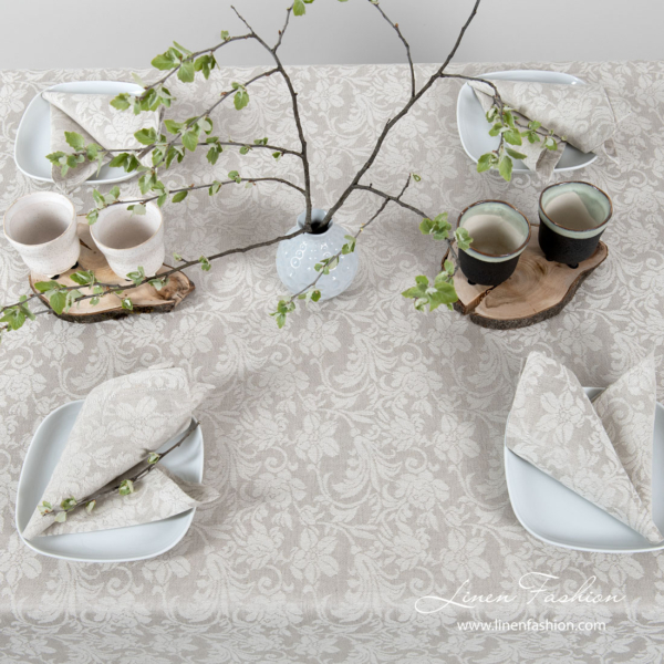 Grey linen tablecloth with flower ornaments