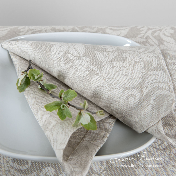 Jacquard linen napkin with grey flowers