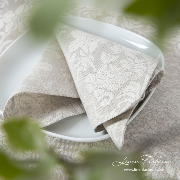 Light grey and white table napkin from medium weight jacquard linen / cotton fabric in floral ornaments