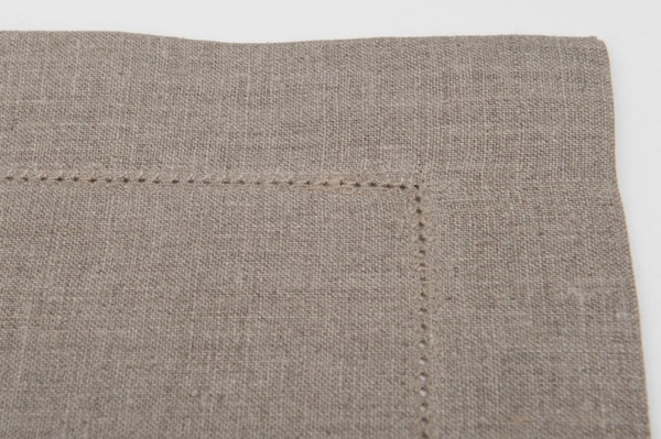 Grey linen table placemat with hemstitch 2
