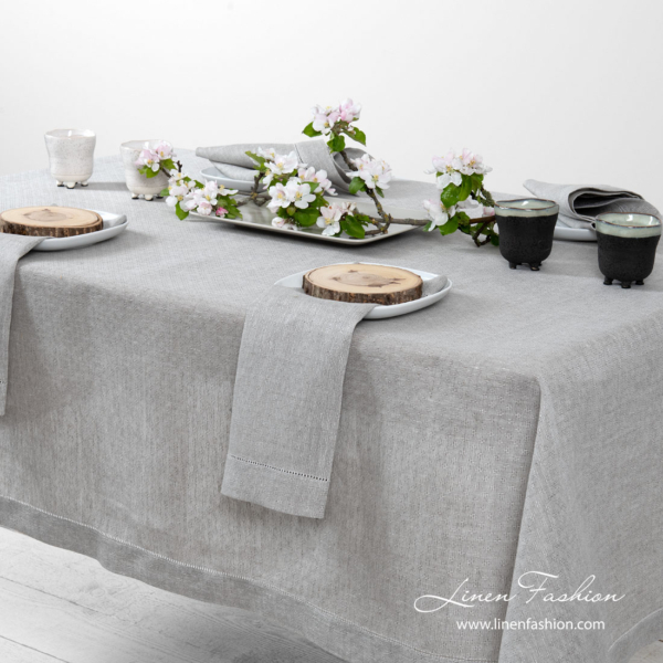 Gray patterned 100% linen tablecloth with hemstitch
