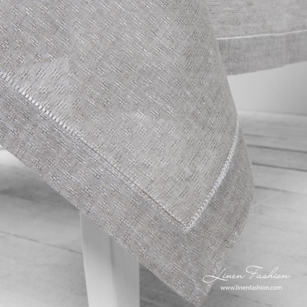 Light grey 100% linen tablecloth with hemstitch