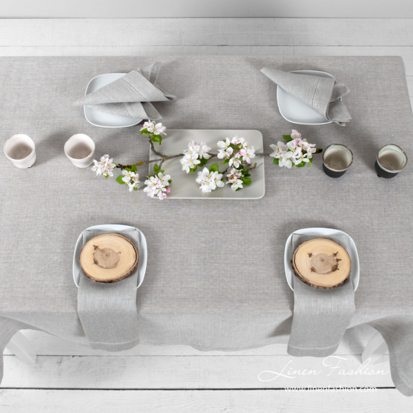 Light grey patterned linen tablecloth | Linen Fashion