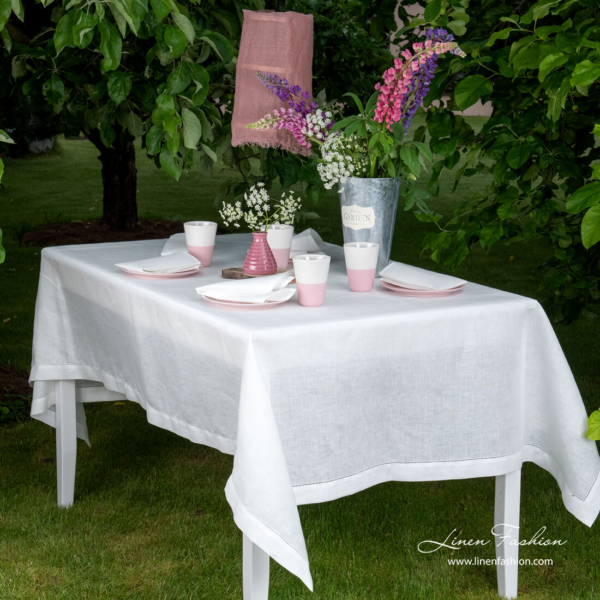 White hemstitched linen tablecloth