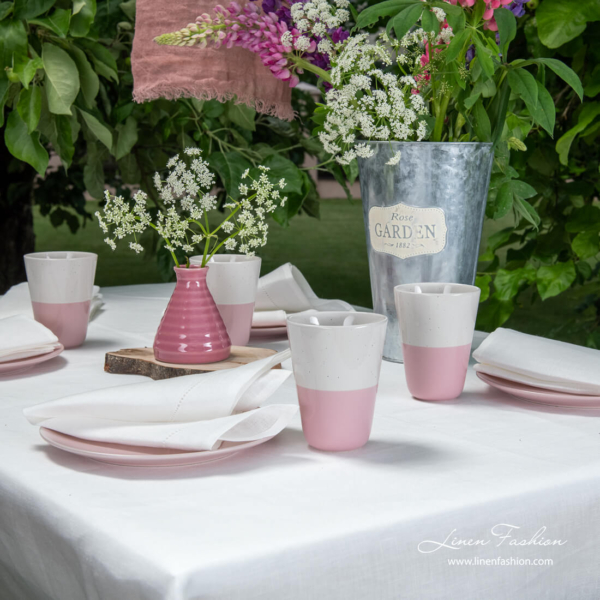Off-white hemstitched linen tablecloth with matching napkins