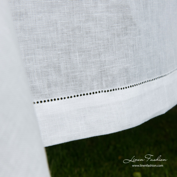 White linen tablecloth border with hemstitch