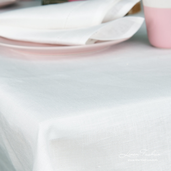 White plain hemstitched linen tablecloth