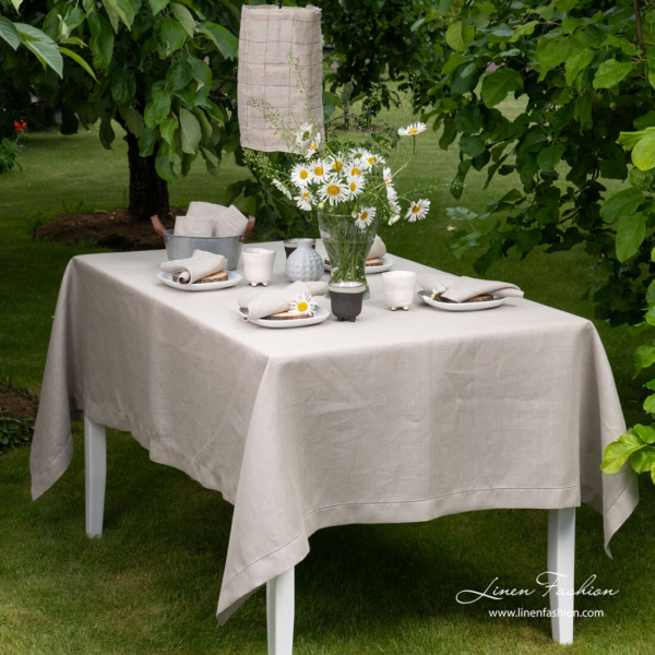 Grey linen tablecloth with hemstitch