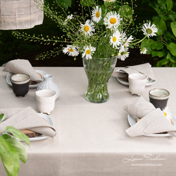 Natural grey linen tablecloth with hemstitch and napkins