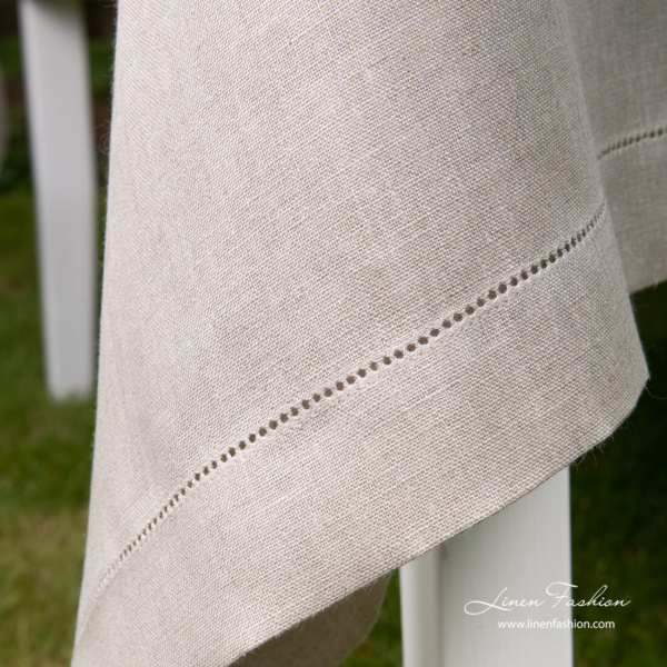 Pure linen natural flax tablecloth with hemstitch