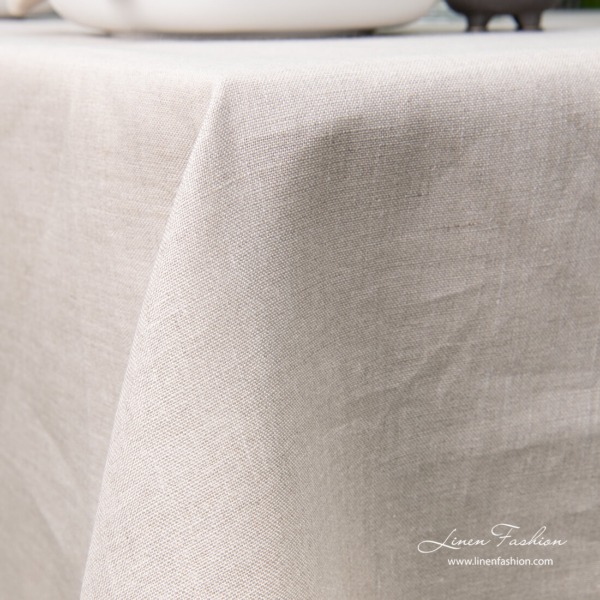 Plain weave natural flax color linen tablecloth with hemstitch
