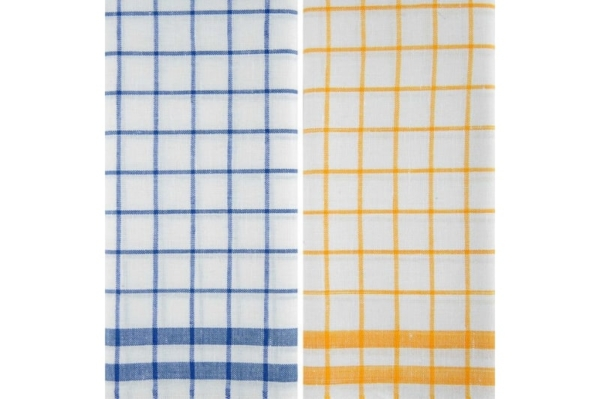 "Set of two checked linen kitchen towels ""Beijing"" 2"