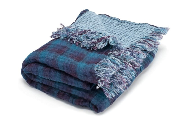 Blue checked double sided linen blanket 1