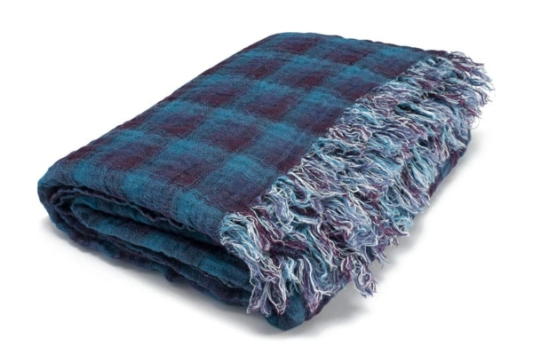 Blue checked double sided linen blanket 3