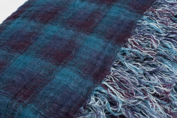 Blue checked double sided linen blanket 4