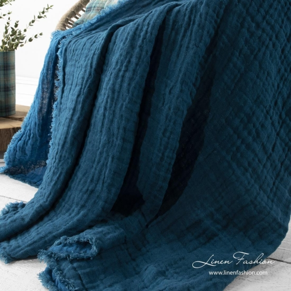 Linen double sided blanket in blue color 2