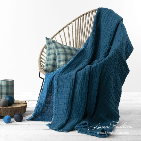 Linen double sided blanket in blue color 1