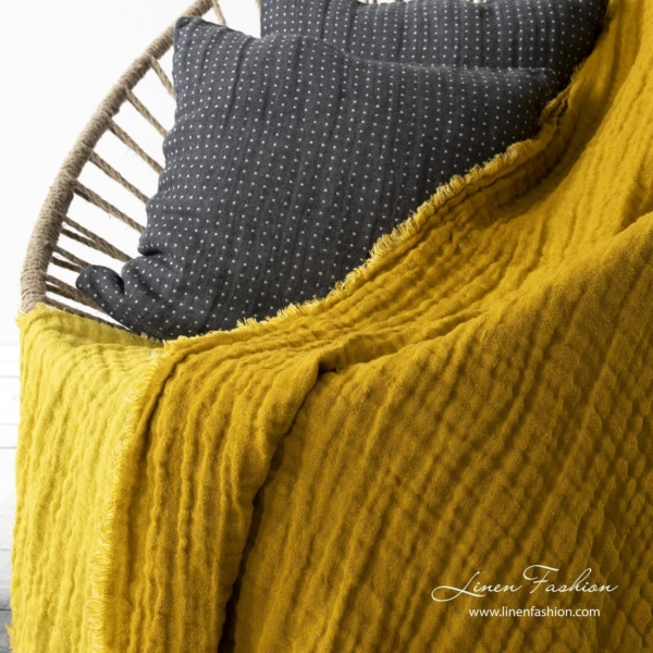 Linen double sided blanket in yellow color 2