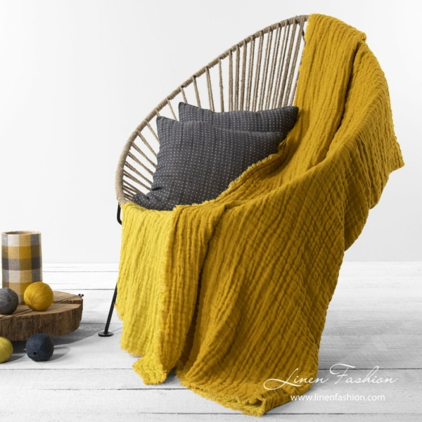 Linen double sided blanket in yellow color 1