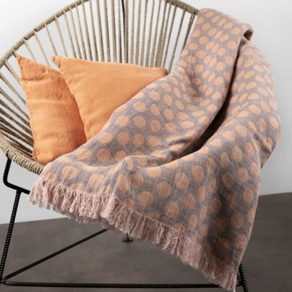 Grey & orange dotted linen blanket 2
