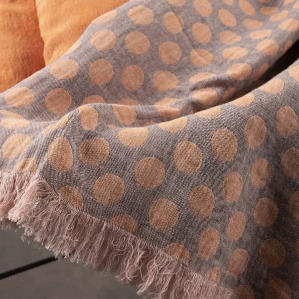 Grey & orange dotted linen blanket 3