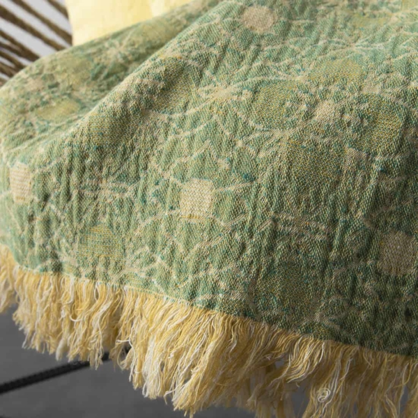 Green ornament double sided linen blanket 3