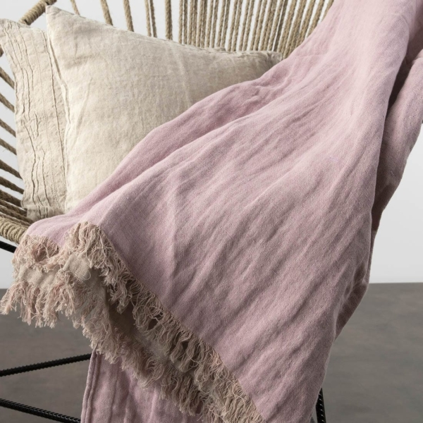 Lilac & grey double sided linen blanket with fringes 2