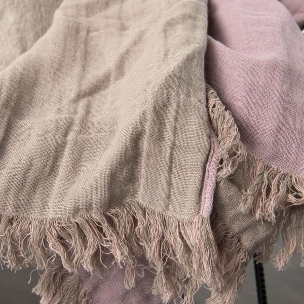 Lilac & grey double sided linen blanket with fringes 3