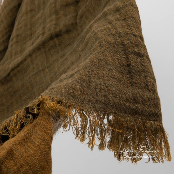 Brown patterned double sided linen blanket with fringes 3