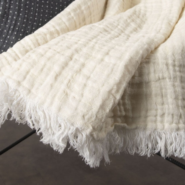 Yellowish white linen blanket with fringes 2