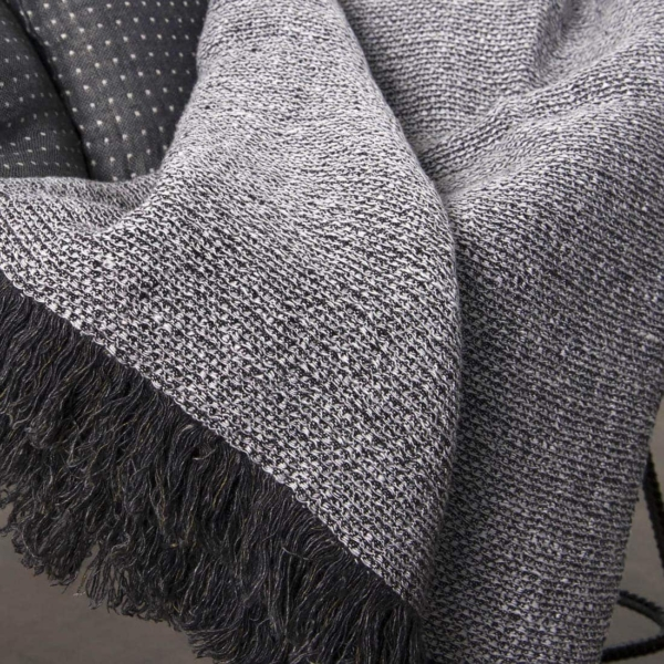 Linen blanket with black-white pattern 3