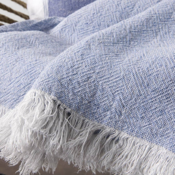 Light blue patterned linen blanket 2