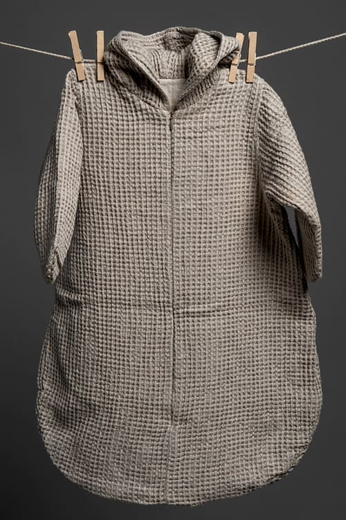 Grey linen baby sleeping bag with a hood 1