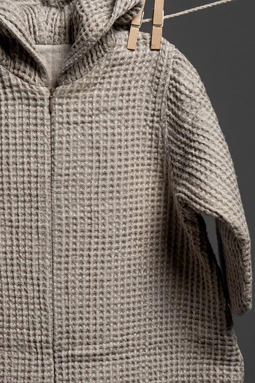Grey linen baby sleeping bag with a hood 2