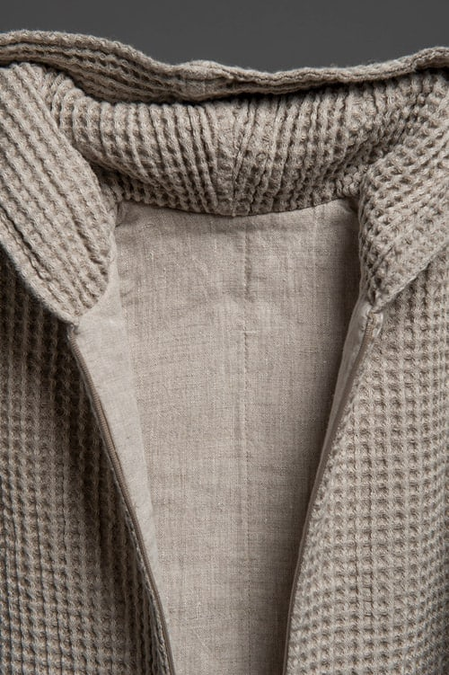 Grey linen baby sleeping bag with a hood 3