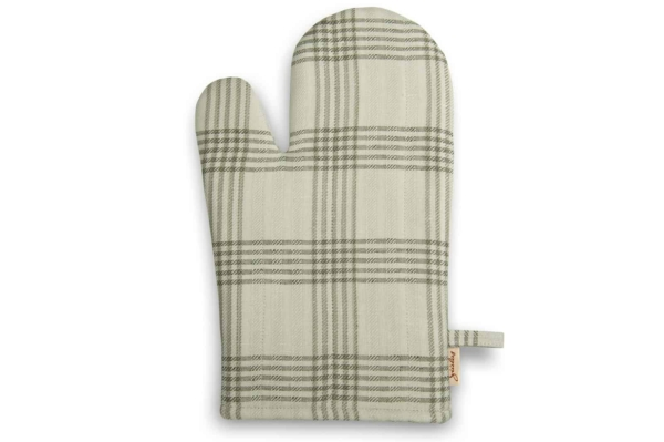 Greenish grey checked linen kitchen glove 1