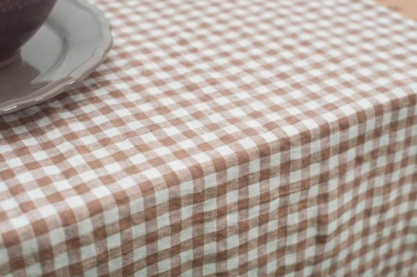 Washed linen table runner in brownish checks 2
