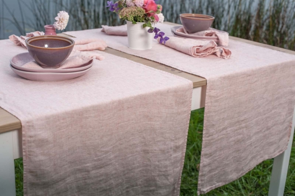 Pink washed linen table runner 1