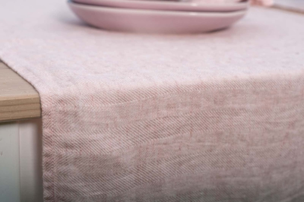Pink washed linen table runner 2